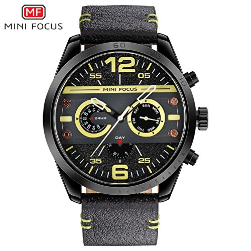 019d06913b8 Buy Minifocus Luxury Relogio Masculino Leather Quartz Wrist Watch for Men -  Black and Yellow Online at Low Prices in India - Amazon.in