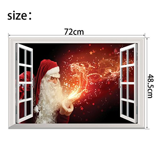 Christmas Eve Creative Window View Sticker, QISC Removable Wall Mural Santa Claus Carrying Gifts outside of Window on Home Decor Wall Decor XMAS Party Scene Setters (C)
