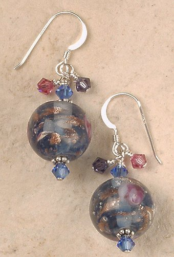Glass Swirl Bead Earrings (Earrings - Metallic Swirl Glass Bead with Crystal Accents)