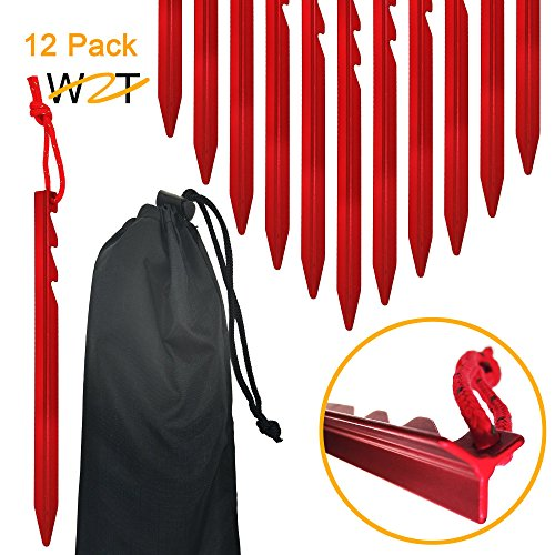 WZT 12 Pcs Tent Stake. Heavy Duty Lightweight Strong Aluminum Alloy pegs for Camping, rain tarps, Hiking, Backpacking. Essential Camping & Survival Gear. ENO Accessory. (red)