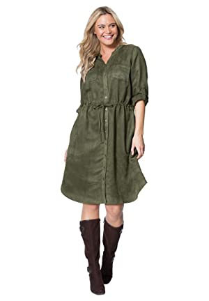 Women's Plus Size Moleskin Button Front Shirtdress Dark Olive Green,28 W