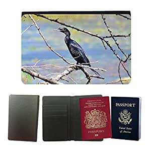 Hot Style PU Leather Travel Passport Wallet Case Cover // M00114436 Comoran Bird Water Bird Fly // Universal passport leather cover