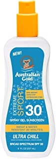 product image for Australian Gold Extreme Sport Spray Gel Sunscreen SPF 30, 8 Ounce | Broad Spectrum | Sweat & Water Resistant | Non-Greasy | Oxybenzone Free | Cruelty Free