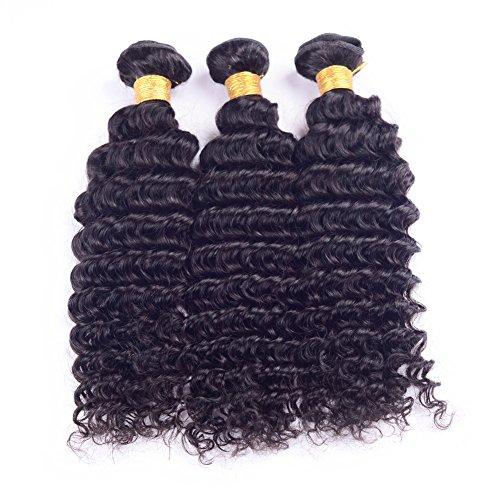 Ruiyu 8A Grade Brazilian Virgin Hair Deep Curly Human Hair Weave 3 Bundles Human Hair Extensions Hair Weft Natural Color 12 14 16 Inches Pack of 3