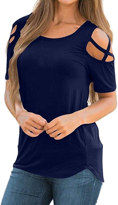 JiaMeng Camiseta de Manga Corta con Hombros Descubiertos con Hombros Descubiertos Blusas De Hombro Fiesta Camisas Tops Blusas Elegantes Manga Corta Casual Algodón para Estampar T-Shirt: Amazon.es: Ropa y accesorios