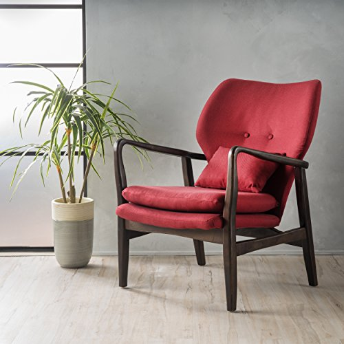 - GDF Studio 299578 Ventura Red Fabric Dark Espresso Frame Club Chair,