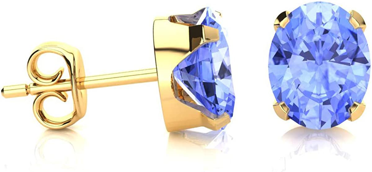 Available In Yellow Gold Oval Shape Tanzanite Stud Earrings 2cttw Rose Gold and Sterling Silver