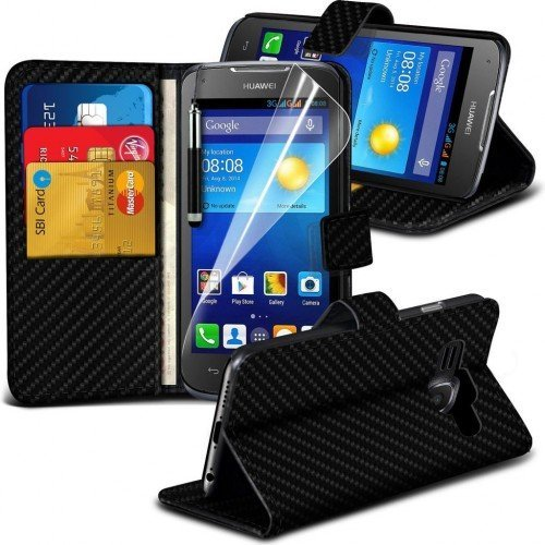 Huawei Ascend Y540 Carbon Cubierta del caso con cuero (Negro) Plus de regalo libre, Protector de pantalla y un lápiz óptico, Solicitar ahora mejor caja del teléfono Valorado en Amazon! By FinestPhoneC