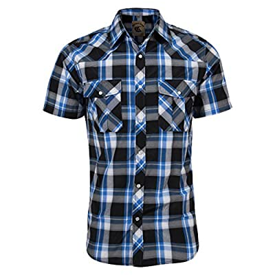 Coevals Club Men's Snap Button Down Plaid Short Sleeve Work Casual Shirt