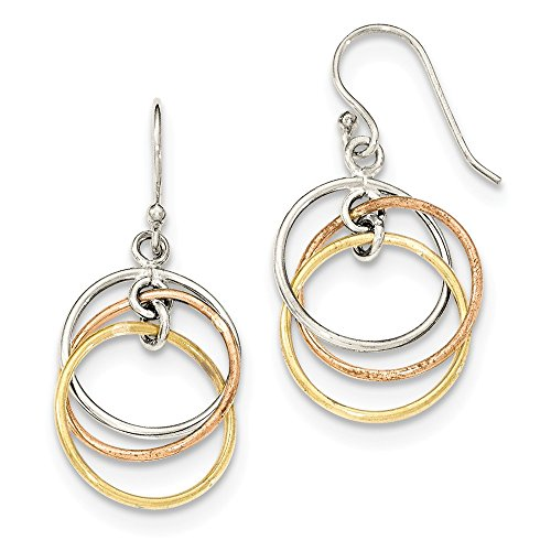 Gold Tone Vermeil Earrings (Solid 925 Sterling Silver 14K gold-tone & Rose gold-tone Vermeil Circles Dangle Earrings (16mm x 35mm))