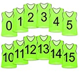 Unlimited Potential Nylon Mesh Numbered Scrimmage Team Practice Vests Pinnies Jerseys for Children Youth Sports Basketball, Soccer, Football, Volleyball (Yellow Numbered, Youth)