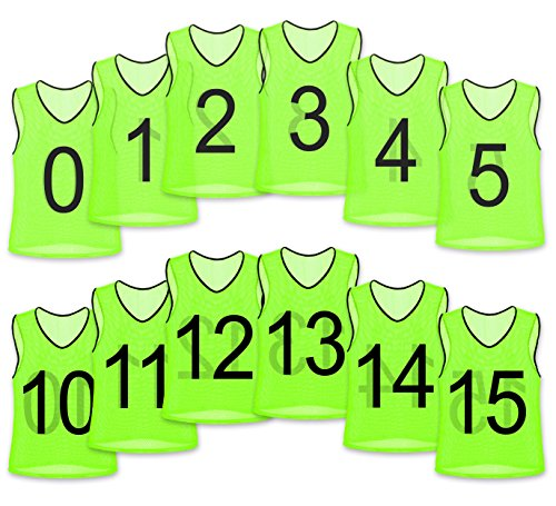 Mesh Training Bibs - Unlimited Potential Nylon Mesh Numbered Scrimmage Team Practice Vests Pinnies Jerseys for Children Youth Sports Basketball, Soccer, Football, Volleyball (Yellow Numbered, Adult)