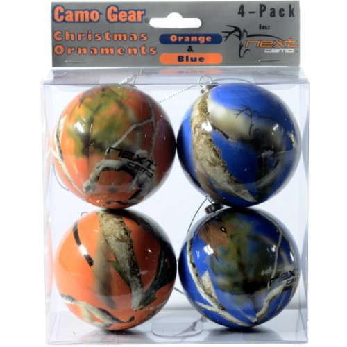 Orange and Blue Camouflage Christmas Ornaments - 4 Pack - Next Camo by Havercamp -
