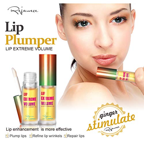 Lip Plumper Lip Gloss by Rejawece - Lip Plumping Balm Plumper Device Lipstick Treatment - Clear Lip Plump Gloss - Enhancer for Fuller & Hydrated Lips   Give Volume, Moisturize (Strong)