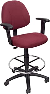 Boss Office Products Ergonomic Works Drafting Chair with Adjustable Arms in Burgundy