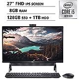 """Latest_Dell Inspiron 7000 All-in-One Desktop 27"""" FHD Display, 10th Generation Intel Core i5-10210U Processor, 8GB Memory, 128GB SSD + 1TB HDD, HDMI, WiFi, Webcam, Windows 10, Black, 1-Year McAfee"""