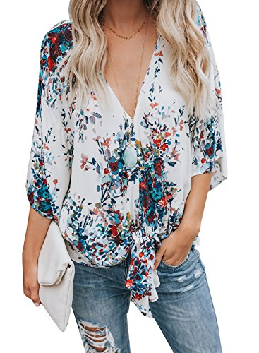 - Bbalizko Womens 3/4 Sleeve Chiffon Blouses Floral Printed Deep V Neck Tie Front Tops (XX-Large, Blue01)