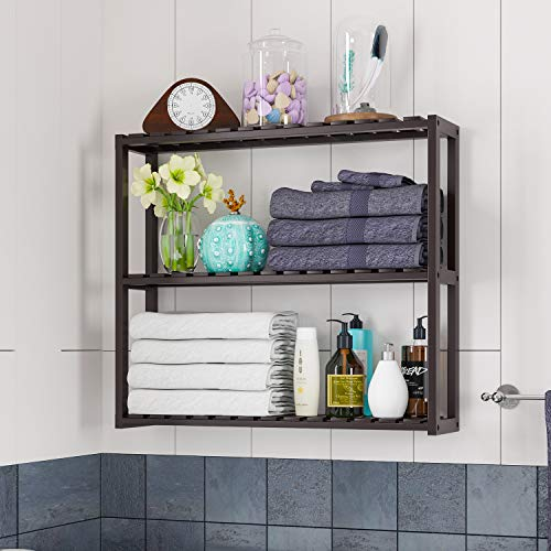 HOMFA Bamboo Shelf 3-Tier Utility Storage Organizer Adjustable layer Rack Bathroom Towel Shelves Multifunctional Kitchen Living Room Holder Wall Mounted Retro Color