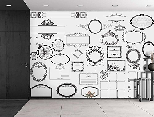 Black Fancy Borders on a White Background Wall Mural