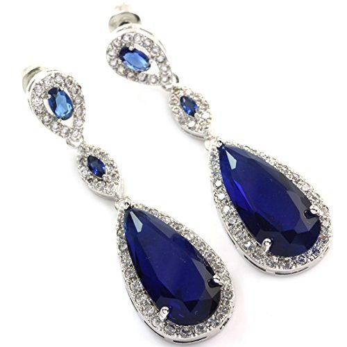 FC Sapphire Blue Color Dangle Teardrop Crystal White Gold Plated CZ Bridal Earring by FC