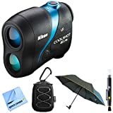 Nikon COOLSHOT 80i VR Golf Laser Rangefinder (16205) Bundle w All Weather Sport Case + Abbigliamento Sportivo SRL Deluxe Folding Umbrella + Lens Cleaning Pen