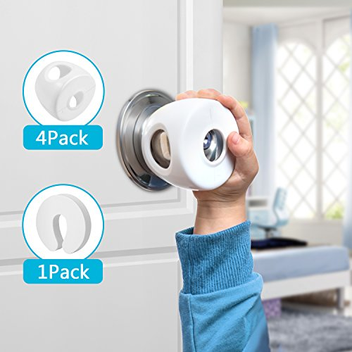 Door Knob Safety Cover, 4 Pack Baby Proofing Door Knob Cover for Child Safety, Baby Safety Child Proof Safety Locks for Kids, Toddlers, Babies (White)