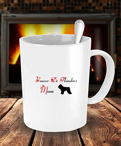 Dog Lover Gifts For Mom - Bouvier Des Flandres Dog White Coffee Mug - 11 oz Tea Cup - Ceramic - Dog The Bounty Hunter Costume Wife