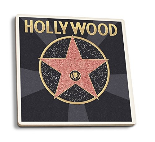 (Lantern Press Hollywood, California - Star (Set of 4 Ceramic Coasters - Cork-Backed, Absorbent) )