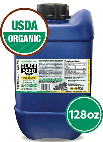 100% USDA Organic Certified Premium Black Cumin Seed Oil | Darkest & Highest TQ Content 1.08% | Nigella Sativa | Undiluted | Cold Pressed | Solvent Free | Certified Vegan & Non-GMO (128oz)