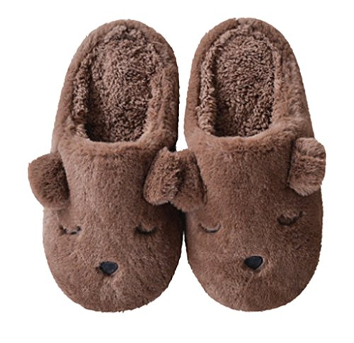 Dog Slippers Fleece Bedroom Slippers Warm Coffee Cattior Womens Comfy Fuzzy qfSq5w8