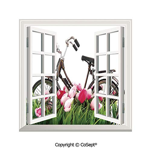 - SCOXIXI Removable Wall Sticker,Vintage Bicycle Standing Colorful Tulips Outdoor Fun Enjoy The Life Theme Photo Decorative,Window Sticker Can Decorate A Room(26.65x20 inch)