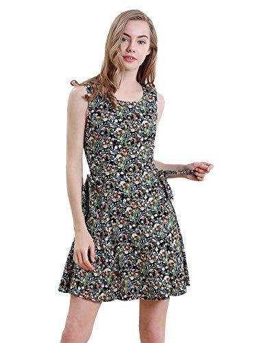 Vero Viva Women Boho Vintage Floral Print Sleeveless A-Line Midi Dress with Belt(S,Floral)
