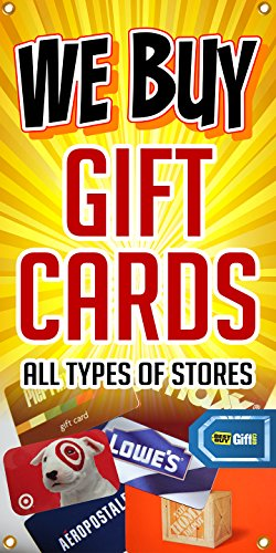 The Large Outdoor/indoor We Buy Gift Cards Banner Sign. Perfect for Gift Cards Trade Stores, Pawn Shop, and Business Buying and Selling Unwanted Gift Cards Such As Best Buy, Lowes, Home Depot, Amazon, Aeropostale, Walmart, Pier 1, Target Gift Cards (Vertical)- 4ft X 2ft (Gift Buyers 1 Card)