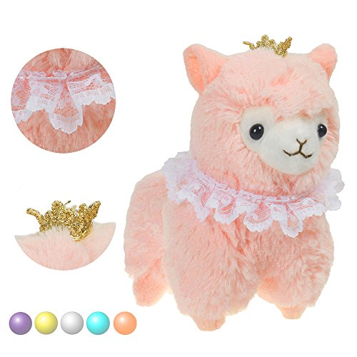 "KSB 6.7"" Pink Crown Plush Alpaca,100% Plush Stuffed Animals Doll Toys,Best Birthday Gifts For The Children."