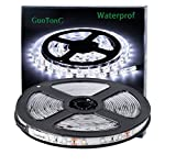 GuoTonG Flexible Waterproof LED Light Strip, 300 Units SMD 2835 LEDs, 6000K Daylight White 12V LED Tape, Led Ribbon, 16.4ft/5m Lighting Strips