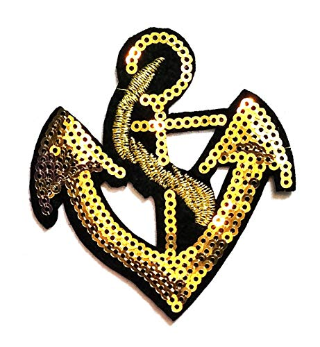 Nipitshop Patches Beautiful Nautical Gold Anchor Cartoon Sequin Shine Shiny Patch Embroidered Iron On Patch for Clothes Backpacks T-Shirt Jeans Skirt Vests Scarf Hat Bag