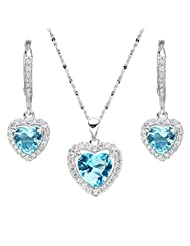 EleQueen 925 Sterling Silver Cubic Zirconia Love Heart Bridal Pendant Necklace Leverback Earrings Jewelry Set Aquamarine Color
