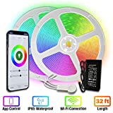 [Upgraded 2020] LED Strip Lights 33ft by TBI Waterproof WiFi Smart Works with Alexa, Google Home Super-Bright 5050 LED, Flexible RGB 16M Colors App-Controlled Music Remote for Kitchen, TV, Party Room