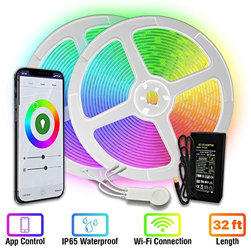 [Upgraded 2020] WiFi LED Strip Lights 33ft by TBI Waterproof Smart Works with Alexa, Google Home Super-Bright 5050 LED, Flexible RGB 16M Colors App-Controlled Music Remote for Kitchen, TV, Party Room