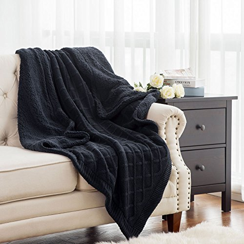 Easy Knit Blanket (Knitted Throw Blanket Reversible with Sherpa, Luxury Cable Sweater Knit Fleece Throw Navy Blue for Bed and Couch 50
