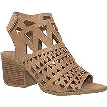 MVE Shoes Women's Velcro Open Toe-Ankle Low Heeled-Sandals