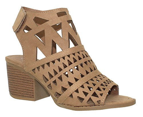 MVE Shoes Women's Ankle Velcro Open Toe Cutout Heeled-Sandals, tan Size 10