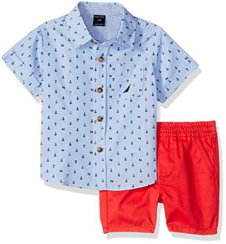 Nautica Sets (KHQ) Baby Boys 2 Pieces Shirt Shorts Set, Blue/Print, 18M