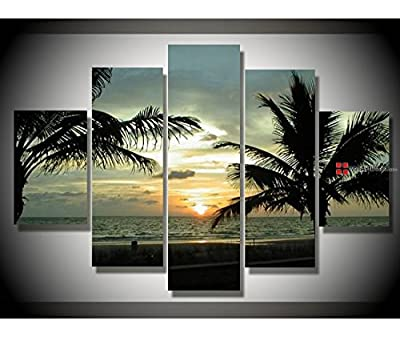 Abstract Framed Grey Sunset in Sea 2 Wall Art Oil Painting 5 Piece