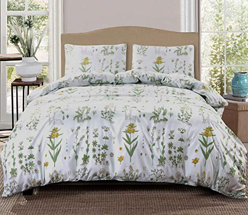 - GiveUWant Microfiber Flower Daisy Duvet Cover Twin(68x90 Inch), 2 Pieces (1 Pillowcase,1 Duvet Cover) Floral Plant Soft Bedding Set, Botanical Blossom Comforter Quilt Cover Set for Girls, Women
