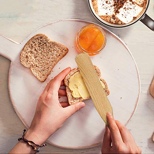 Moliy Spurtle Cooking Utensils, Wooden Spurtle Set Wood Kitchen Utensils Spurtles Kitchen Tools Spatula Slotted Spoon for Cooking Salad Stir, Cake Make and Pan-Fried Steak (4 Pcs)