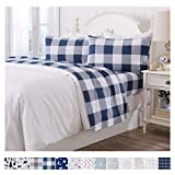 Great Bay Home Extra Soft Buffalo Check 100% Turkish Cotton Flannel Sheet Set. Warm, Cozy, Lightweight, Luxury Winter Bed Sheets. Belle Collection (California King, Navy)