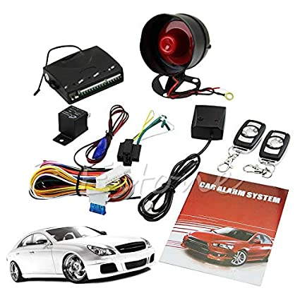 1-Way Car Vehicle Protection Alarm Security System Keyless Entry Siren 2 Remote
