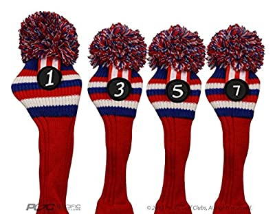 Pacific Golf Clubs Head Covers 1 3 5 7 Red White and Blue Knit Retro Old School Vintage Stripe Pom Pom Throwback Classic