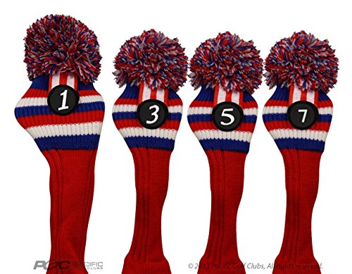 Pacific Golf Clubs Head Covers 1 3 5 7 Red White and Blue Knit Retro Old School Vintage Stripe Pom Pom Throwback Classic ()